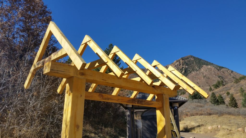 Timber Frame Roof Trusses on Signboard